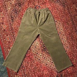 Vintage Green Corduroy Straight Leg Crop Pants